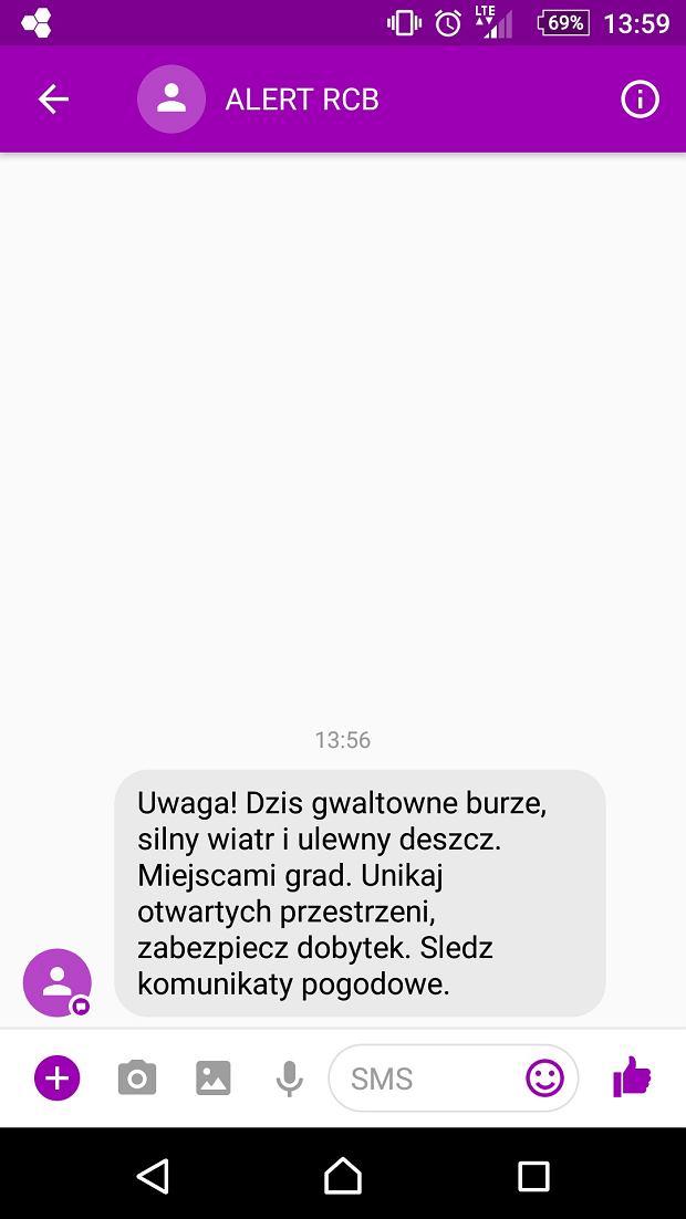 RCB wysyła SMS-y z ostrzeżeniem