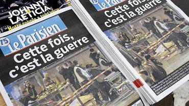 Wydanie dziennika 'Le Parisien'  z informacją o zamachu terrorystycznym w teatrze Bataclan, listopad 2015 r.