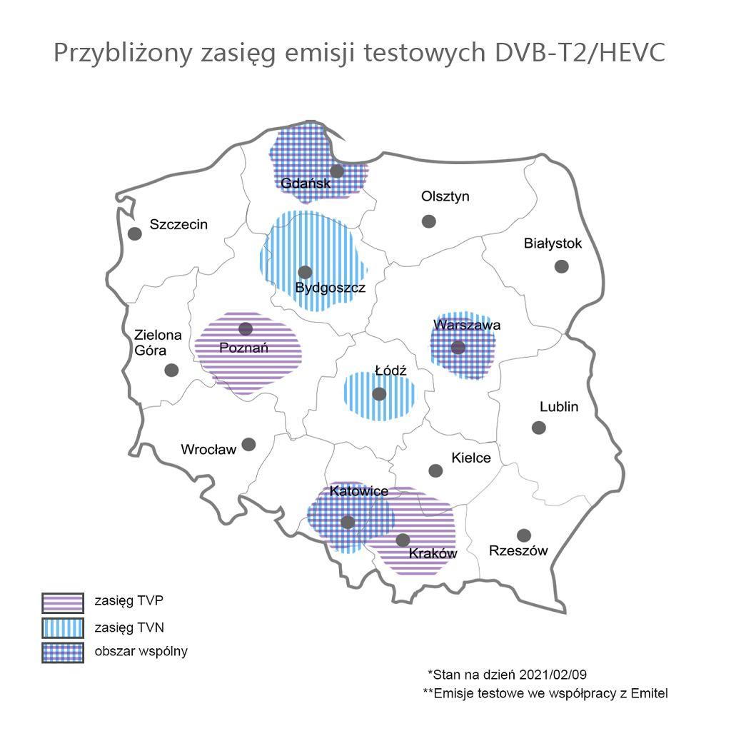Przybliżony zasię emisji testowych DVB-T2/HEVC