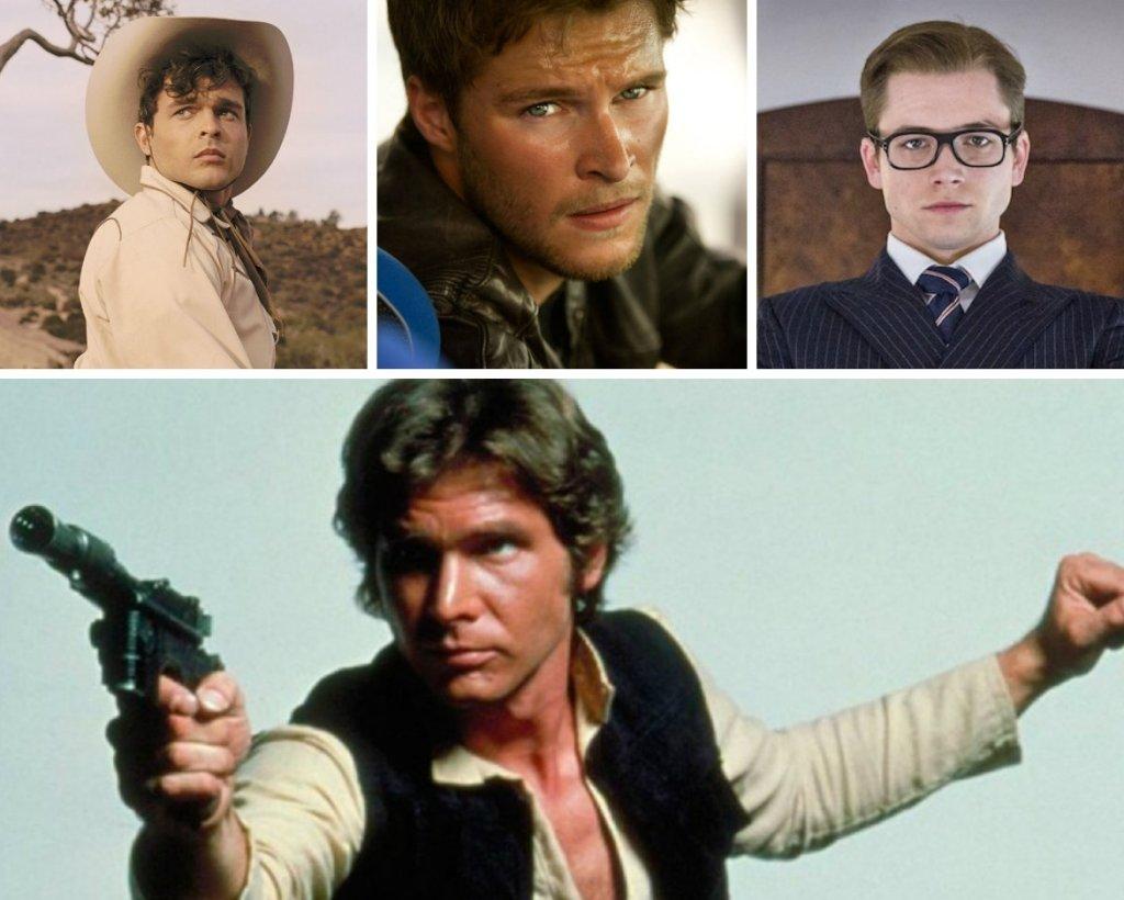 Alden Ehrenreich, Jack Reynor, Taron Egerton, Harrison Ford jako Han Solo