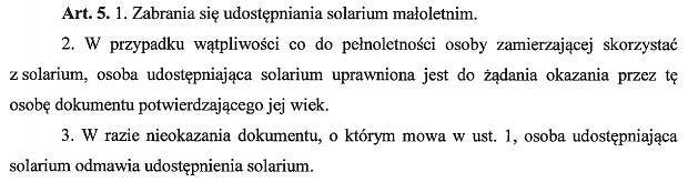 fragment projektu ustawy o ochronie zdrowia przed następstwami korzystania z solarium
