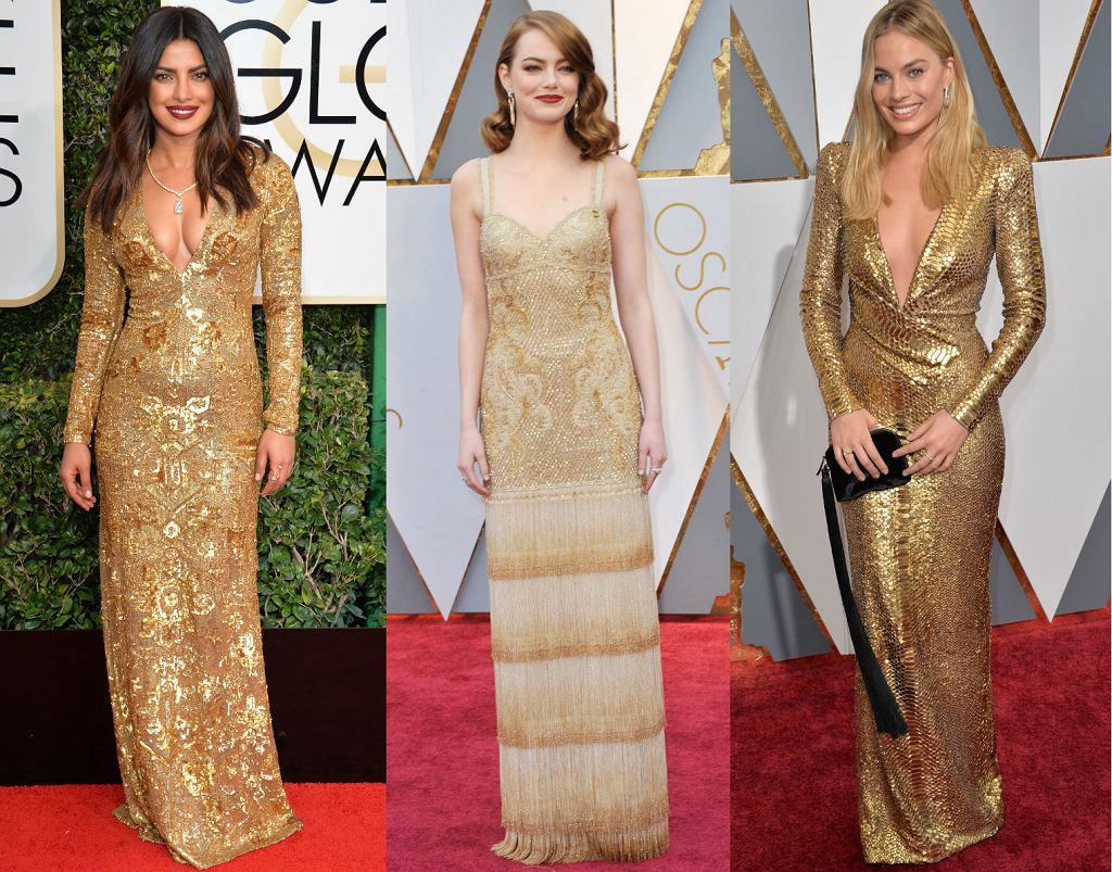 Priyanka Chopra, Emma Stone i Margot Robbie w złotych sukienkach na czerwonym dywanie