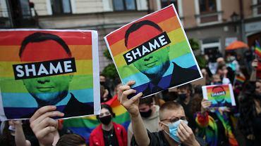 Protest podczas kampanii prezydenta Andrzej Duda w Tarnowie.