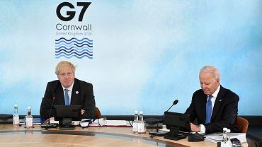 Szczyt G7. Na zdjęciu premier Wielkiej Brytanii Boris Johnson i prezydent USA Joe Biden.