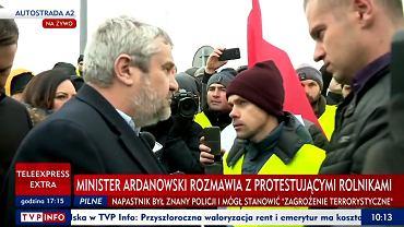 Minister Jan Ardanowski na proteście rolników na A2