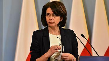 Minister cyfryzacji w rządzie PiS Anna Streżyńska podczas konferencji prasowej w ramach przeglądu resortów. KPRM, Warszawa, 1 stycznia 2017