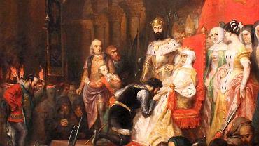 Piotr asystujący składaniu przez arystokratów hołdu ekshumowanej i koronowanej Inez