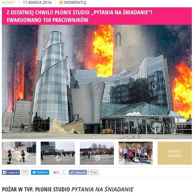 Pożar w budynku TVP
