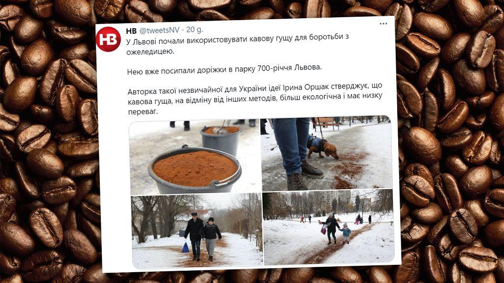 Na Ukrainie do posypywania oblodzonych chodników stosuje się kawę