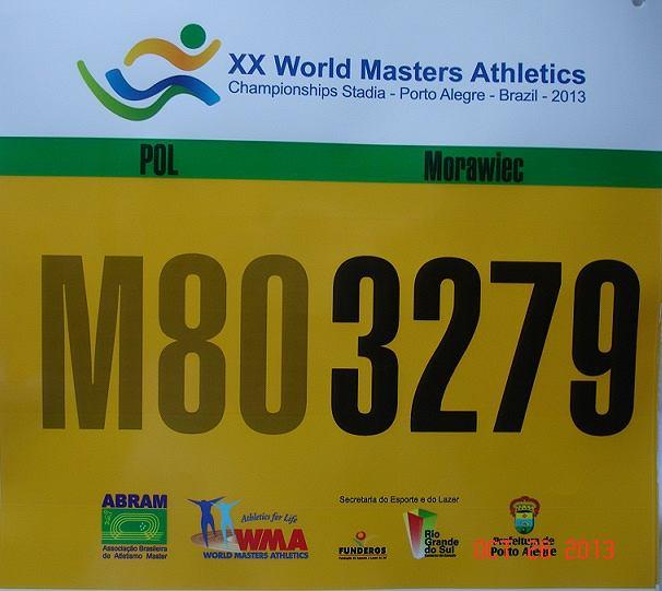Numer startowy Jana Morawca podczas mistrzostw świata w Porto Alegre