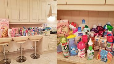 Kobieta na dzień matki dostała zapas środków czystości.