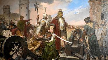 Obrona Olsztyna - obraz Kazimierza Alchimowicza. Muzeum Częstochowskie
