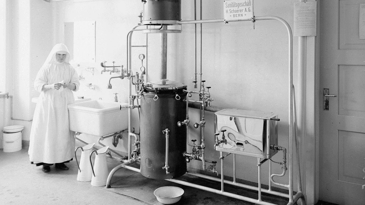 Aparat do dezynfekcji narzędzi chirurgicznych. 1914-1918 r.