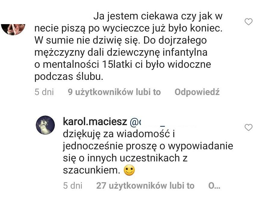 Komentarze z Instagrama Karola