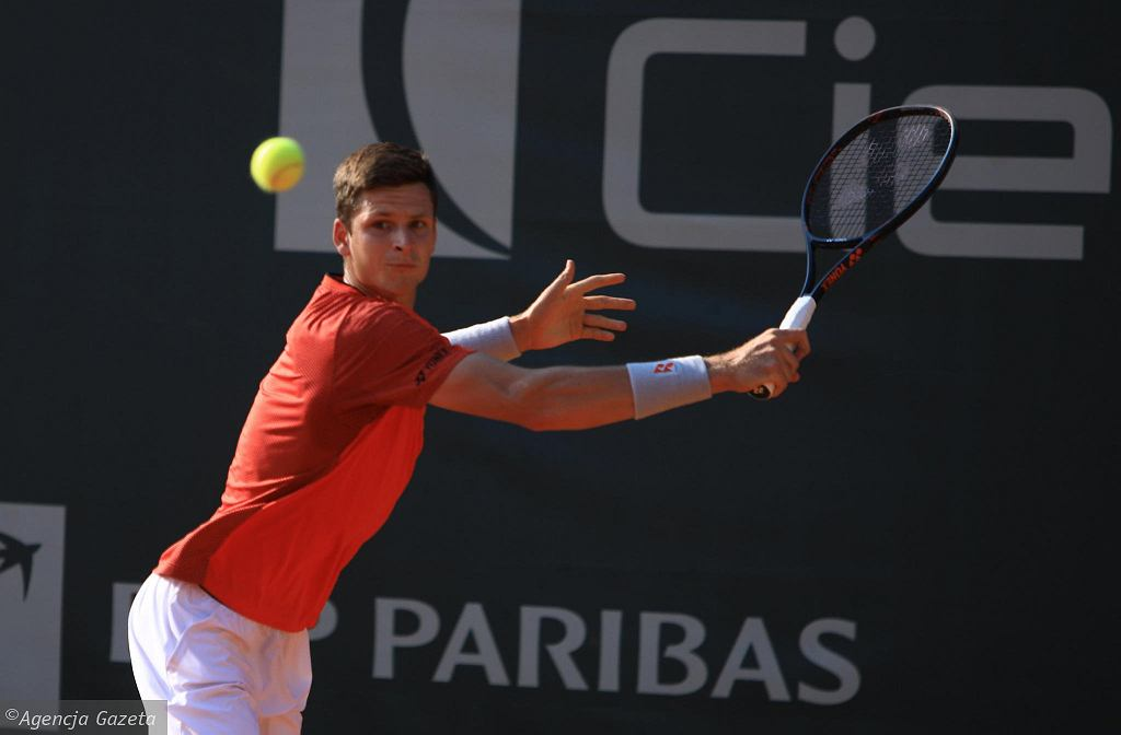 Hubert Hurkacz podczas Poznań Open