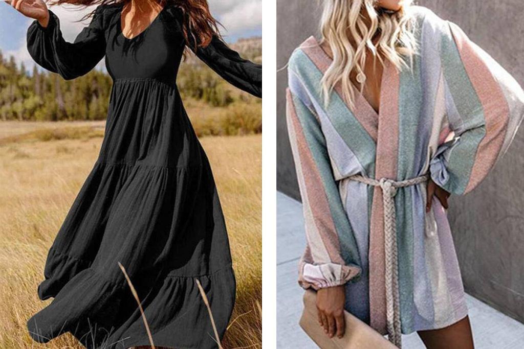 Sukienki boho z długim rękawem