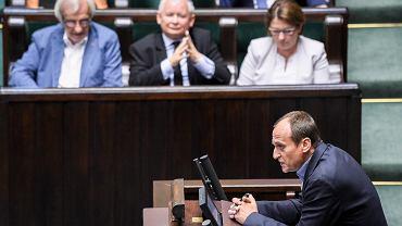 Jarosław Kaczyński i Paweł Kukiz podczas 45. posiedzenie Sejmu VIII kadencji, 05.07.2017 r.
