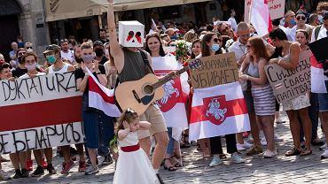 Manifestacja wolności Białorusinów i wrocławian w Rynku