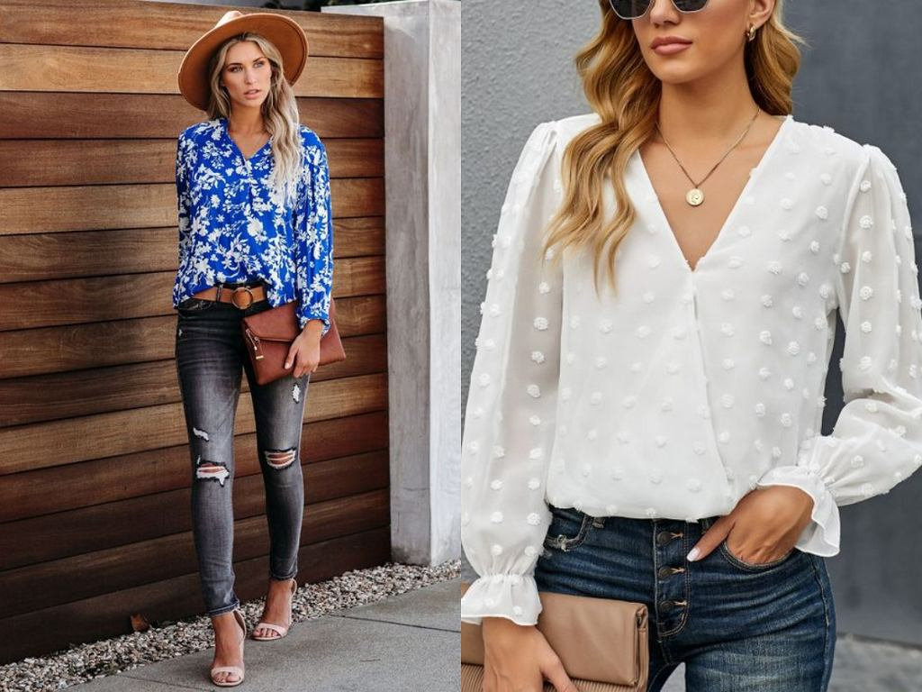 Jak nosić kopertową bluzkę