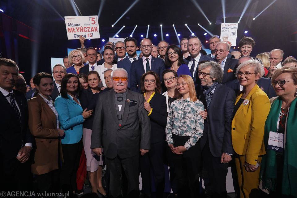 Lech Wałęsa podczas konwencji KO. Warszawa, 6 października 2019