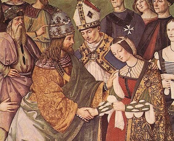 'Eneasz Piccolomini przedstawia Eleonorę z Portugalii Fryderykowi III' autorstwa Pinturicchino.