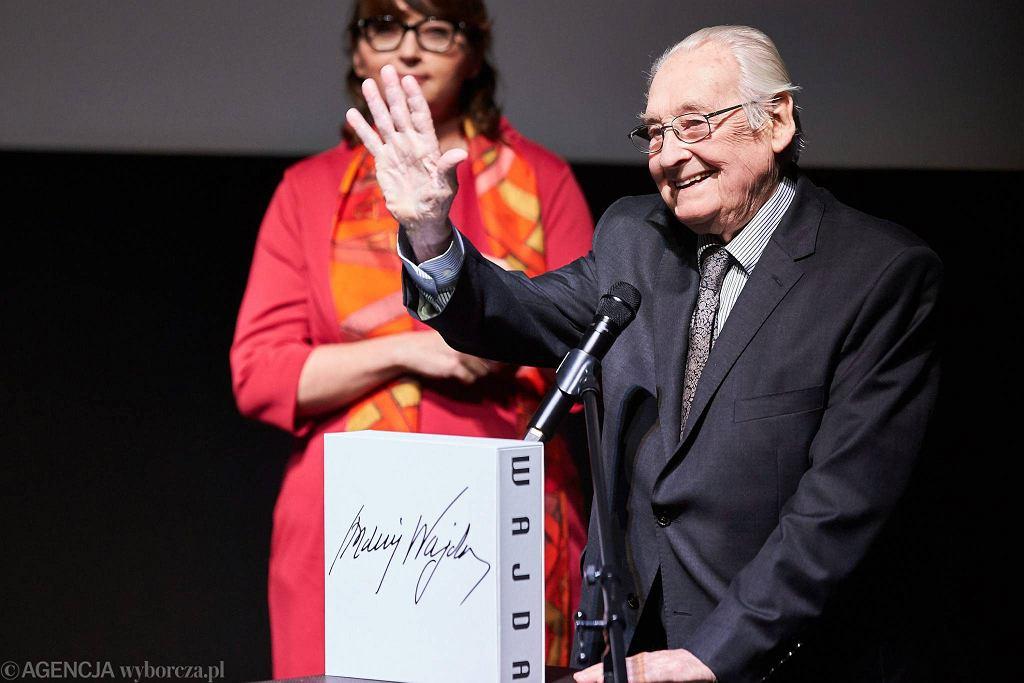Andrzej Wajda i Magdalena Sroka podczas 41. festiwalu filmowego w Gdyni. Wrzesień 2016