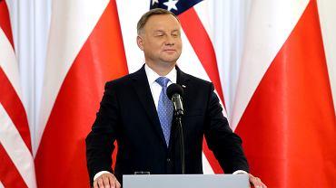 Prezydent Andrzej Duda podczas  podpisania układu o wzmocnieniu współpracy wojskowej Polski i USA. Warszawa, 15 sierpnia 2020