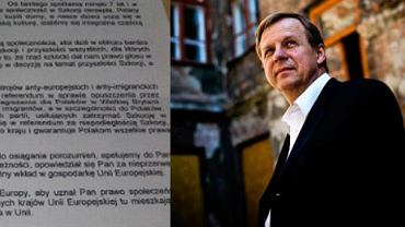 Fragment pisma do Donalda Tuska i Tomasz Borkowy