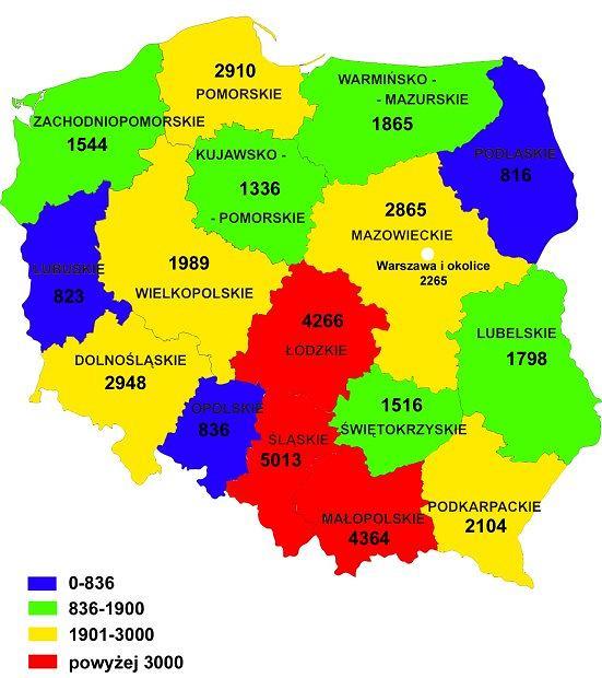 Liczba wypadków na polskich drogach w 2011 roku
