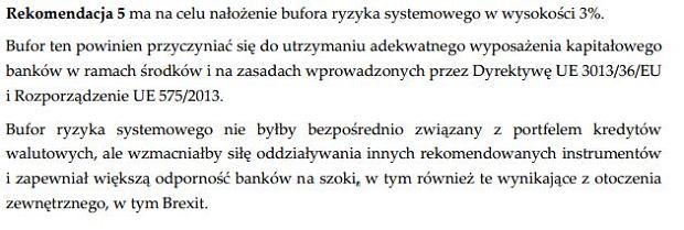 Uchwała Komitetu Stabilności Finansowej z dnia 13 stycznia 2017 r. w sprawie rekomendacji dotyczącej restrukturyzacji portfela kredytów mieszkaniowych w walutach obcych - fragment