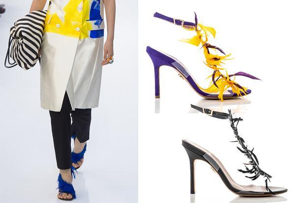 Buty z pokazu Dries van Noten i sandały z wiosennej kolekcji Baldowski to doskonały przykład tego, że pióra mogą ozdabiać nie tylko sukienki