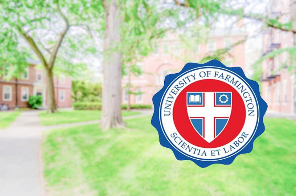Pieczęć fałszywego 'Uniwersytetu Farmington'.