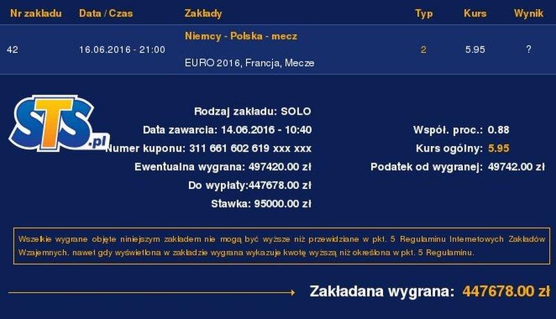 Kupon na mecz Niemcy - Polska