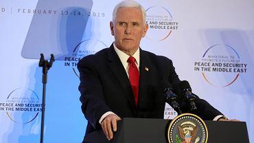 Wiceprezydent  Stanów Zjednoczonych Mike Pence podczas wystąpienia na konferencji bliskowschodniej, Warszawa, 14 lutego 2019 r.