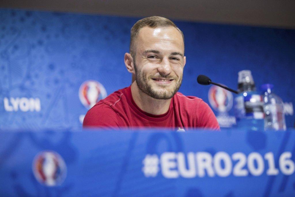 Euro 2016. Konferencja prasowa reprezentacji Węgier. Gergo Lovrencsics z Lecha Poznań