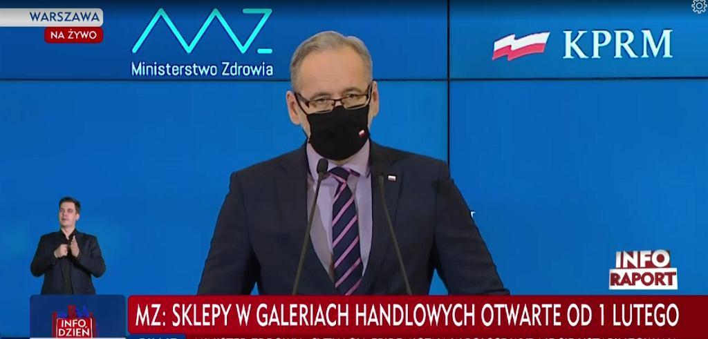 Adam Niedzielski, minister zdrowia, podczas konferencji
