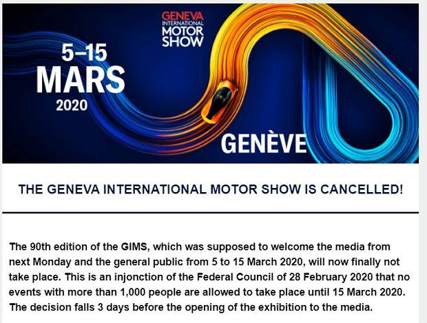 Oficjalny komunikat dotyczący odwołania Salonu w Genewie 2020
