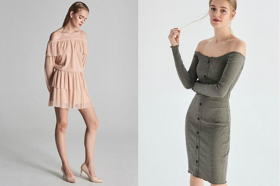 sukienki Sinsay z odkrytymi ramionami