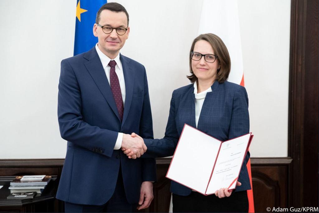 Premier Mateusz Morawiecki i szef KAS Magdalena Rzeczkowska