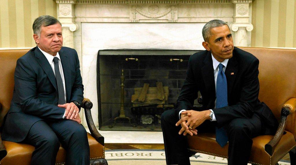 Król Jordanii Abdullah II i prezydent USA Barack Obama