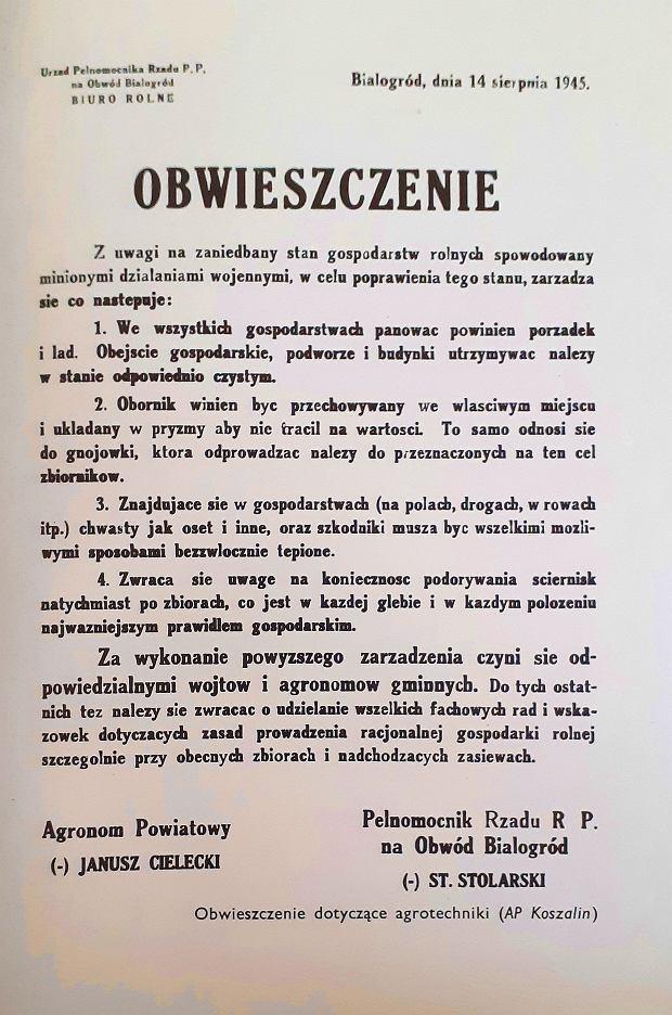 Obwieszczenie z 1945 roku w sprawie gospodarstw rolnych
