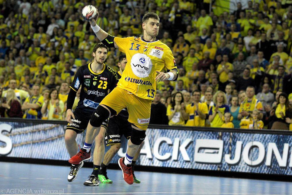 Julen Aginagalde podczas meczu Vive Tauron Kielce - Rhein Neckar Lowen
