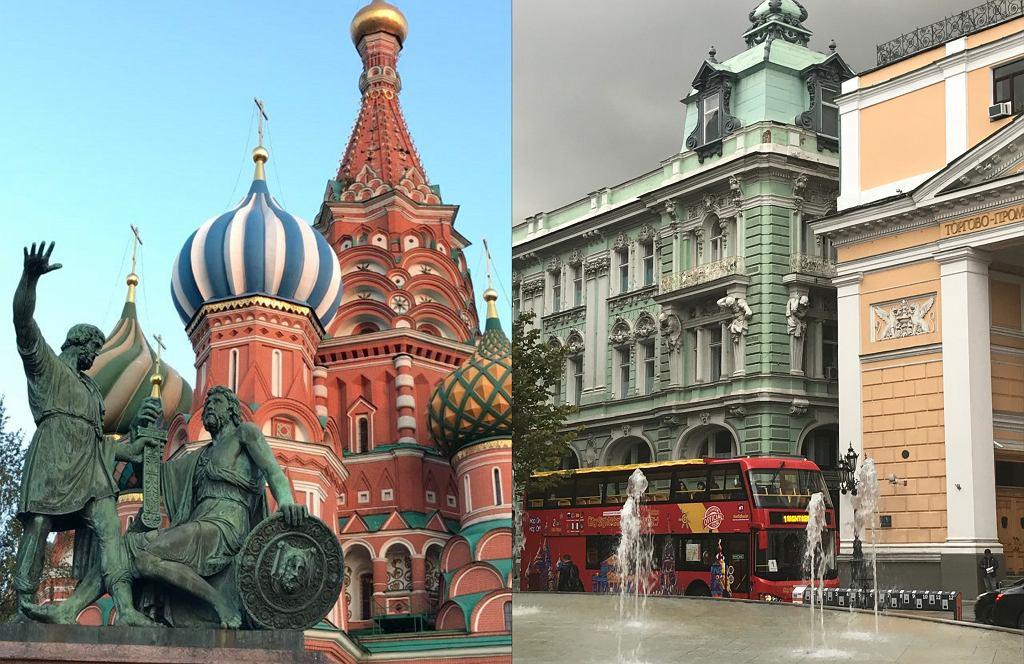 Po lewej: cerkiew Wasyla Błogosławionego i pomnik Minina i Pozarskiego na placu Czerwonym, po prawej: budynek giełdy w Moskwie (fot. Archiwum prywatne)