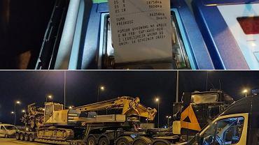 Wiertnica jedzie A1. Bez zezwolenia i o 56 ton za ciężka. Teraz poczeka na parkingu