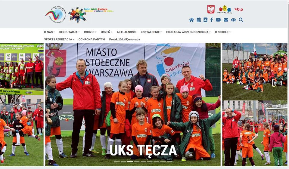 Strona internetowa Szkoły Podstawowej nr 12 z Oddziałami Inegracyjnymi w Bydgoszczy. Logo z tęczą, którym zainteresowała się prokuratura u góry z lewej