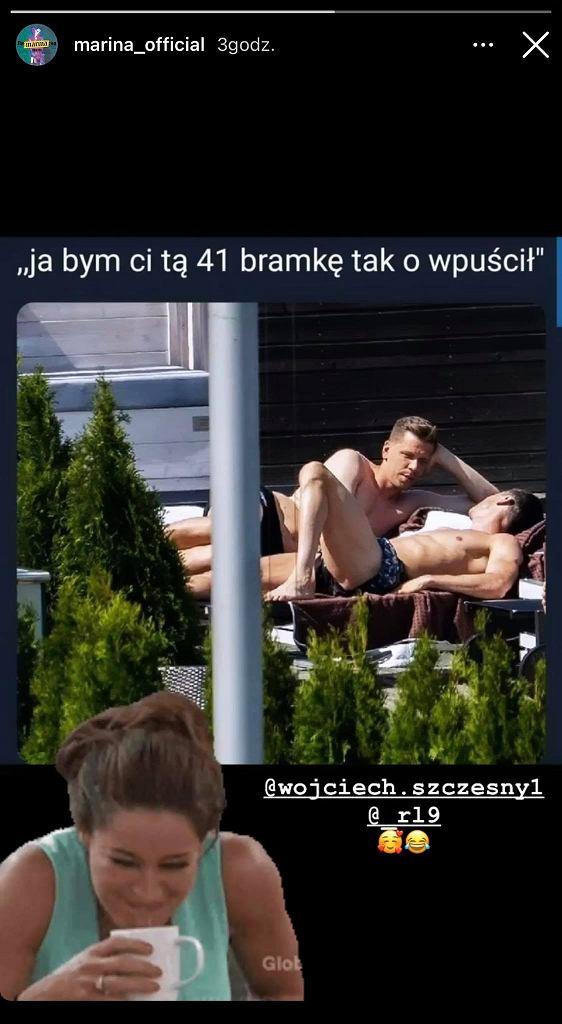 Marina Łuczenko Szczęsna stworzyła mema z Wojciechem Szczęsnym i Robertem Lewandowskim