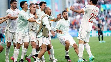 Reprezentacja Hiszpanii w meczu z Chorwacją na Euro 2020.