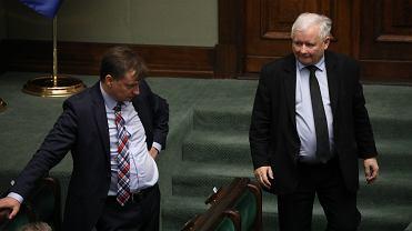 Prezes Jarosław Kaczyński i minister sprawiedliwości w rządzie PiS Zbigniew Ziobro. Warszawa, Sejm, 24 lipca 2020