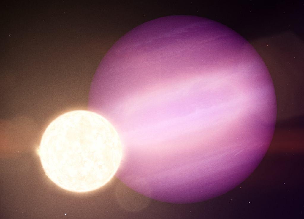 Planeta WD 1856 b i jej gwiazda (biały karzeł) na wizualizacji