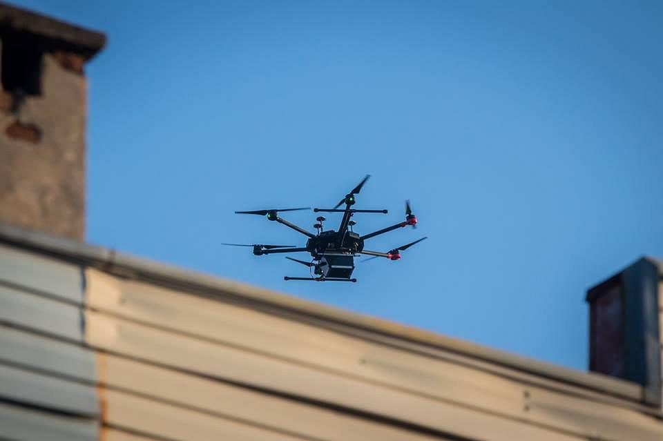Specjalistyczny dron Eco-Patrolu Głównego Instytutu Górnictwa nad Sosnowcem